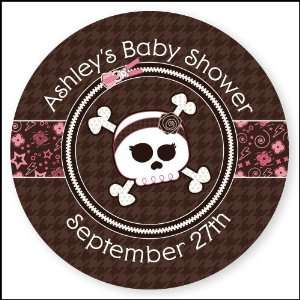 Skull   24 Round Personalized Baby Shower Sticker Labels Toys & Games