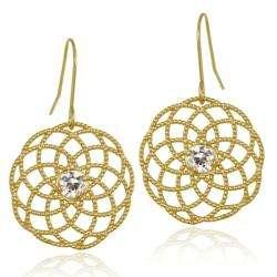 Stonez 10k Yellow Gold Cubic Zirconia Filigree Disc Dangle Earrings