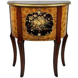 style Hand painted 3 drawer Half moon Cabinet/ Table