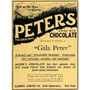 1907 Ad Peters Swiss Milk Chocolate Confections Alps   Original Print