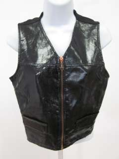 JEAN PAUL GAULTIER Black Faux Leather Zip Front Vest S