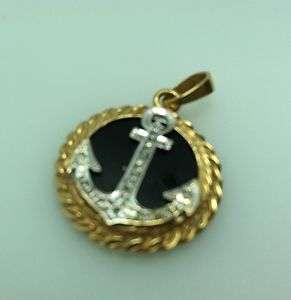 14K GOLD AND DIAMOND BLACK ONYX ANCHOR PENDANT