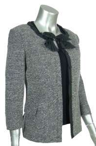 DKNY Donna Karen New York Womens Black White Wool Tweed Jacket Blazer
