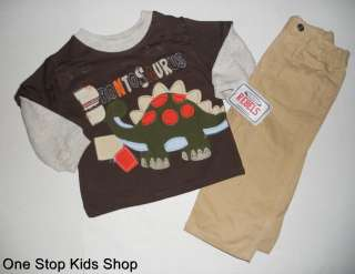 DINOSAUR Infant Boys 12 18 24 Months Set OUTFIT Applique Shirt Top