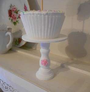 Shabby cottage Chic white pink rose individual wood cupcake stand