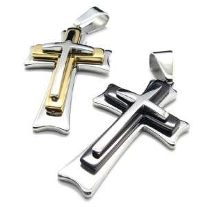 MENS STAINLESS STEEL GOLDEN SILVER BLACK CROSS NECKLACE