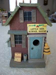 Wood Birdhouse Bird House   Little Red School House Distressed