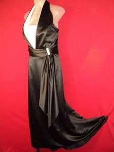 Stunning Elegant Black White Satin Halter Bridal Dress Gown 16~