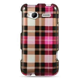 VMG HTC Radar Design Hard Case Cover 2 ITEM COMBO Pink Brown Checkered