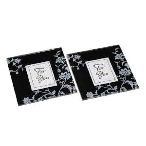 Artwedding Blossom Square Glass Coasters Set Favor (Set of