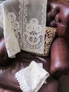 1930s Vintage Cotton LACE CURTAIN PANELS COTTAGE White