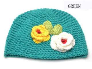 Handmade Wool Baby Kids Child Two Flower Cap Hat Cute Gift