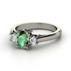 Ashley Ring, Oval Emerald 18K White Gold Ring with Diamond Jewelry
