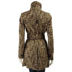 Miss Sixty Womens Leather Trim Tweed Coat