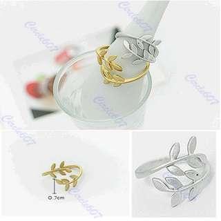 Hot Fashion Exquisite Alloy Rhinestone Double Leaf Ring