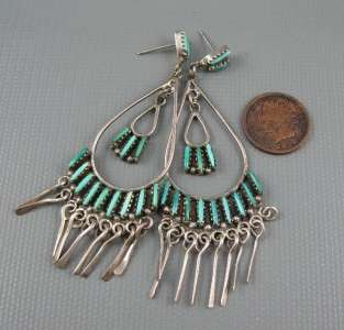 Old Zuni Long Sterling Needle Point Sleeping Beauty Turquoise 3+ Inch