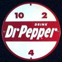 DR PEPPER ROUND PORCELAIN OVERLAY METAL SIGN *NR