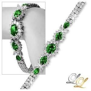 Silver CZ Simulate Emerald Green Floral Tennis Bracelet