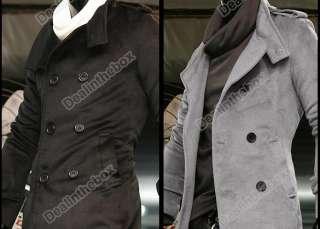 Korea Mens Slim Classic Double Breasted Wool Coat Jacket Windbreak 2