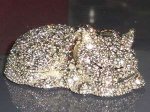 Lazy Cat* Swarovski Crystals Jewelry Trinket/Pill Box