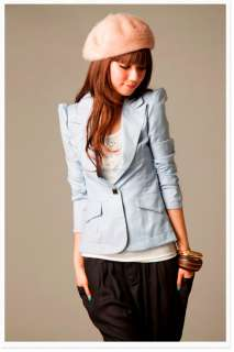 Ladies Womens Puff Sleeve One Button Lapel Casual Suits Blazer Jacket