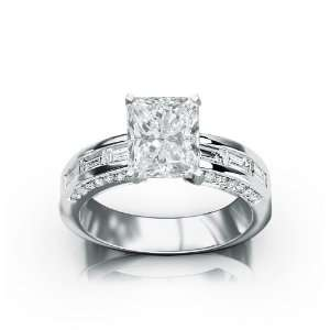 1.71 Carat 14k White Gold Engagement Ring Jewelry
