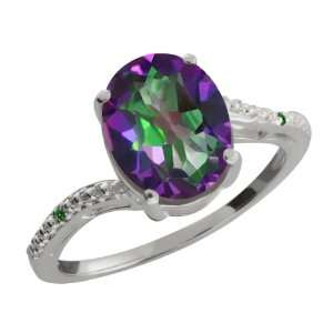 1.61 Ct Oval Green Mystic Topaz and Green Diamond Sterling