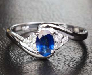 SAPPHIRE Real 10K WHITE GOLD ENGAGEMENT WEDDING RING SIZE 6
