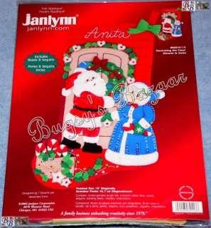 Janlynn DECORATING THE CLAUS Stocking Santa & Mrs Claus Felt