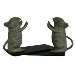 America Retold Country Mouse Bookends, Brass with Green Patina, Pair