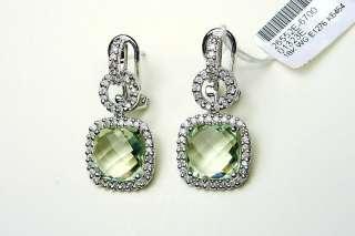 18K WHITE GOLD DIAMOND & GREEN AMETHYST EARRINGS