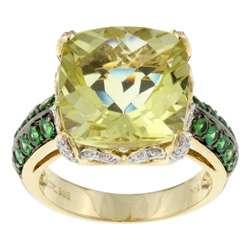 Vian 14k Gold Lemon Quartz and Tsavorite Garnet Ring