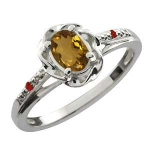 0.57 Ct Oval Whiskey Quartz Red Garnet 14K White Gold Ring