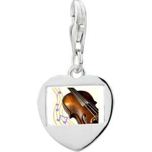 Sterling Silver Gold Plated Music Violoncello Photo Heart Frame Charm