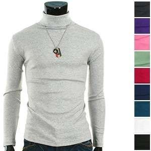 ) THELEES Mens Casual Simple Design Slim Turtle Neck T shirts