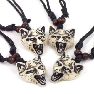 4X Cool Men Wolf Head ibe Yak Bone Necklace Boy Birhday Pary Bag