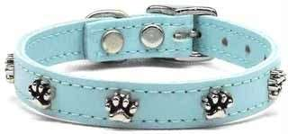 Baby Blue Dog Pet Puppy Soft Leather Paw Print Collar