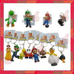New 12PCS Set Super Mario Figures Bros Series Key Chain