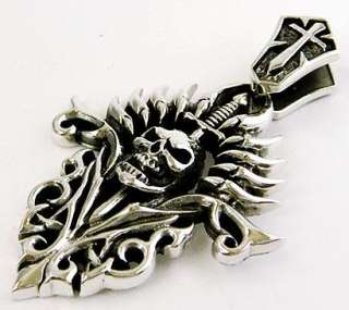 GOTHIC FLAME SKULL SWORD CROSS STERLING SILVER PENDANT
