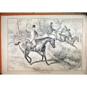 1887 Country Scene Horse Jumping Hedge Refusing Print
