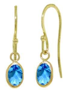 Oval Cut Gemstone Dangle Fish Hook Earrings in 14K Solid Gold