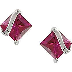 Sterling Silver Created Pink Sapphire Earrings