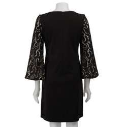 Jessica Howard Womens Lace Burnout Sleeve Ponte Dress  Overstock