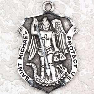 Antique Silver St Michael Charm Pendant Religious Catholic