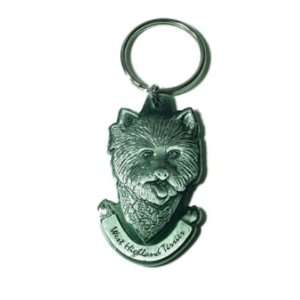 Pewter West Highland Terrier Westie Key Chain Ring Made in