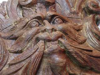 wooden oak ? carving carved devil satan monster lion head ?