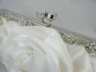 Cream White Crystal Flowers Frame Wedding/Party Clutch