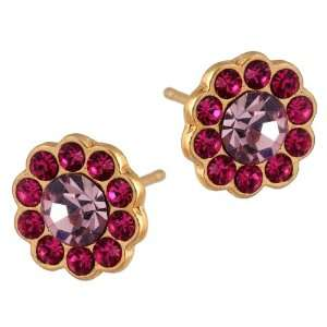 Michal Negrin Stylish Flower Gold Plated Stud Earrings with Fuchsia