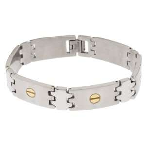 Edforce Stainless Steel Two Tone Bracelet with Nailhead