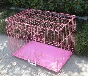 48 2 Door Pink Folding Dog Crate Cage Kennel LC ABS 814836017541